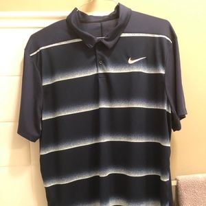 Black and white striped Nike golf shirt